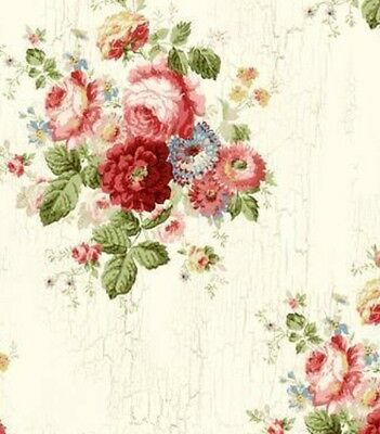 Wallpaper Designer Victorian Blue Pink Red Green Floral Roses on Cream Faux