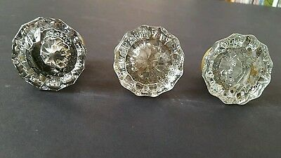 """3 Antique Fluted Crystal Clear Glass Door Knobs   2"""" across"""