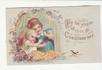 Joy Be Yours this Christmas Day Young Girls Bird Embossed Victorian Card c1880s