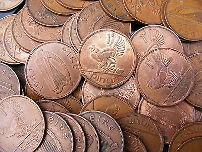 Lot Of Five Irish Vintage One Penny Coins - Hen And Chickens
