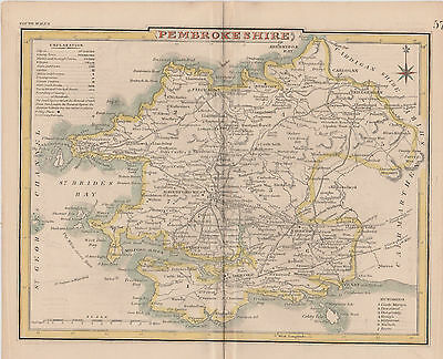 1846 Two Antique Maps - PEMBROKESHIRE, WALES - J. Roper & J. Archer -T.Dugdale