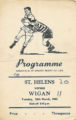 St Helens v Wigan 26 Mar 1963 RUGBY LEAGUE PROGRAMME