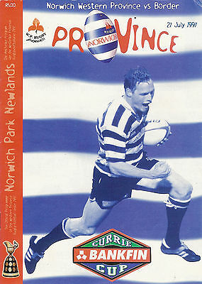 Western Province vBorder 27 Jul 1997  Cape Town RUGBY PROGRAMME