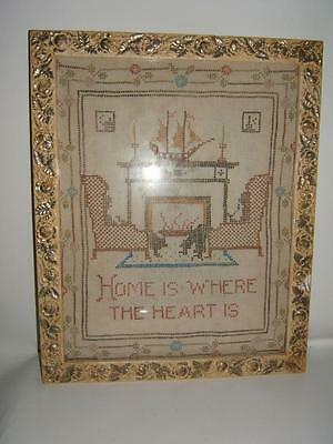 ANTIQUE SAMPLER LATE 1800's HOME IS WHERE THE HEART IS 10 X 13""