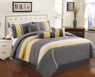 Chezmoi Collection 7-Piece Yellow Gray White Quilted Comforter Set, King