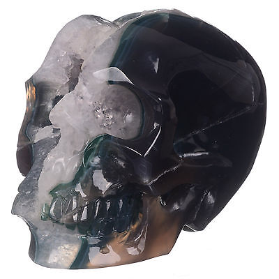 "5.98""Natural Geode Agate Crystal Carved skull Carving,Rare Mineral #21C04"