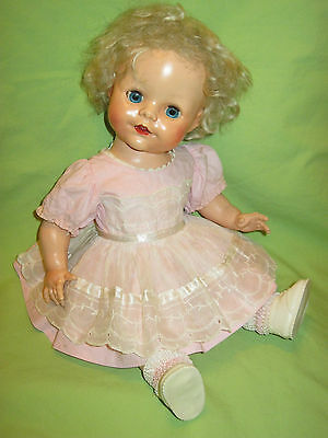 """England PEDIGREE 14"""" Hard Plastic TODDLER DOLL IN OUTFIT Platinum Hair Blue Eyes"""