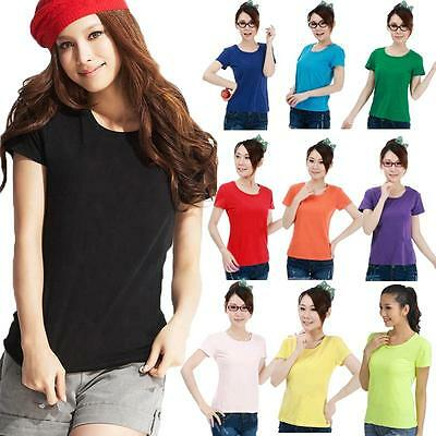 Womens Colorful Crew Neck Short Sleeve Cotton Basic T-Shirt Top Blouses