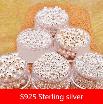 10PCS BRIGHT S925  SILVER ROUND SEAMLESS SPACER BEADS SMALL HOLE 4-10mm
