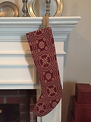 Red & Tan Lover's Knot Woven Christmas Stocking