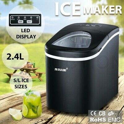 2.4L Commercial Portable Ice Cube Maker Machine Automatic Easy Home Fast Snow BK
