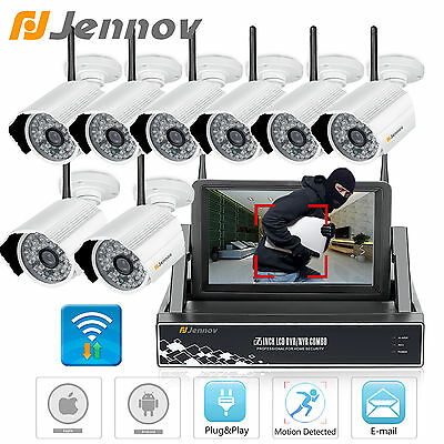 Jennov 8CH 720P  IR Night outdoor wifi Security Camera Nvr with Monitors Video