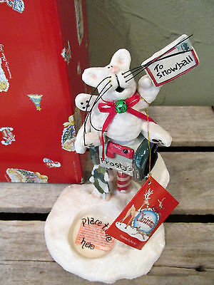 Clayworks Heather Goldminc Christmas Snowball The Cat On a Mailbox Figurine Nib