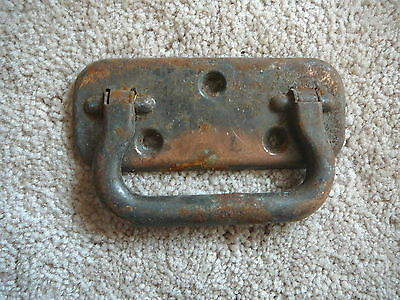 Vintage Steel Metal Salvaged Drop Handle - Carpenters Chest Trunk Box - Old #19