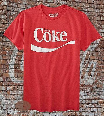 New Coca-Cola Enjoy Coke Logo Mens Heather Red Classic Vintage T-Shirt