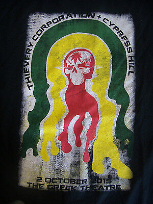 Cypress Hill Thievery Corporation 2 SIDED Concert Tour T-Shirt XL cities on back