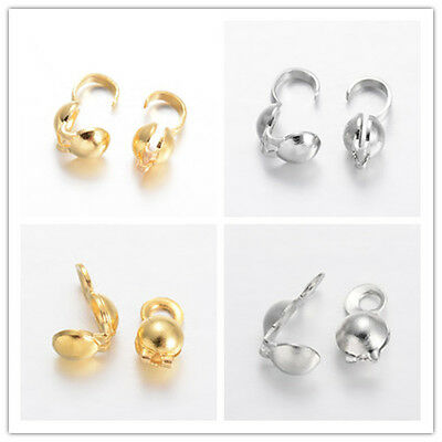 200pcs Bead End Tips Knot Covers Open Loop Bottom Clamp Clasp Clam shell 9x4mm