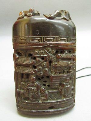 Chinese Ox-horn Carved Person & Scenery Pattern Inro / Pomander