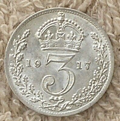1917 King George V British Silver Threepence Coin