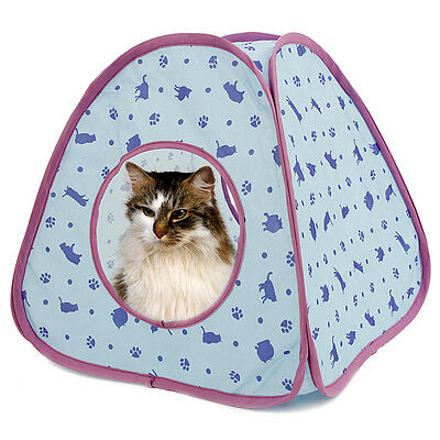 Lovely Cat Tunnel Pet Toy of Cat Pattern More Fun Blue Color Tent Small Dog Beds