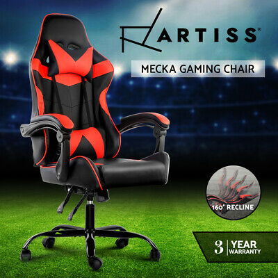 Gaming Office Chair Computer Seating Racing Recliner Racer PU Leather Black Red