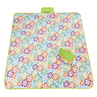 Outdoor Camping Flower Pattern Moisture Resistant Blanket Picnic Mat 180 x 145cm
