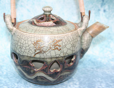 Vintage Japanese Horse Teapot, Crackle Glaze Finish Cut Outs over lining Signed