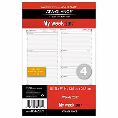 At-A-Glance 061285Y Day Runner Weekly Planning Pages Refill 5 1/2 X 8 1/2 2017