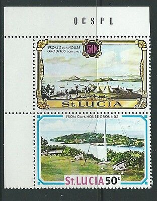 ST.LUCIA SG317/318wa 1971 50c PAIR WMK CROWN TO THE RIGHT  MNH