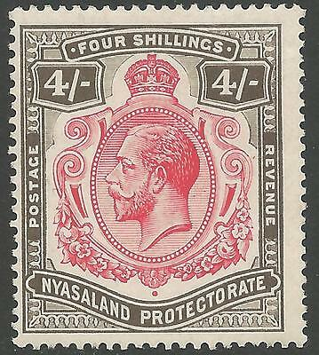 "NYASALAND SG95d 1913 4/= CARMINE & BLACK ""NICK IN TOP RIGHT SCROLL"" VAR MTD MINT"