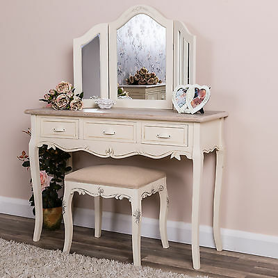 Cream Dressing Table Mirror and Stool Set Bedroom Furniture Shabby Vintage Chic