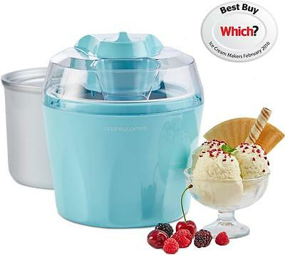 Andrew James Blue Ice Cream Maker 1.5 Litre With Additional/Spare Freezer Bowl