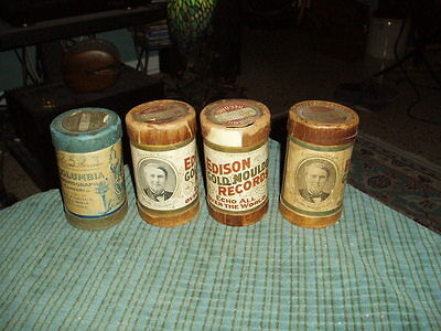 Antique EDISON & COLUMBIA PHONOGRAPH COMPANY Lot Of 4 Tins & Records RARE !