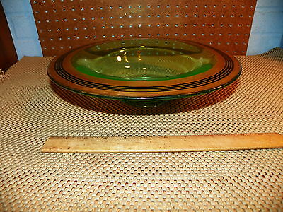 Vintage Rolled Edge Green Depression Glass Console Bowl w Gold Trim            +