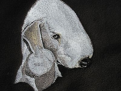 Large Embroidered Zippered Tote - Bedlington Terrier BT3982