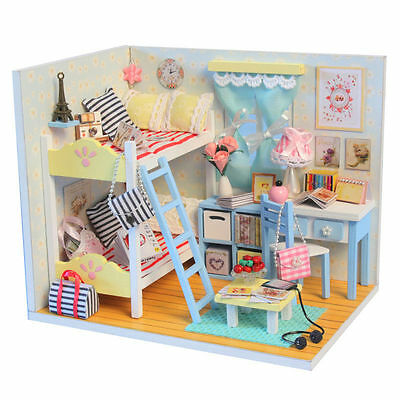 Kits DIY Wood Dollhouse miniature with Furniture Doll house room Angel Dream 12