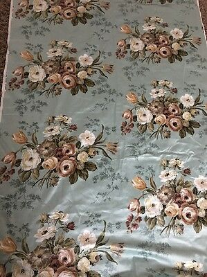Vintage Sanderson Curtain Silk Print Fabric 9 Metres Duck Egg Blue Floral