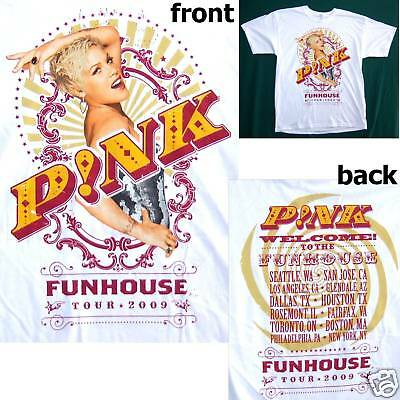 Pink P!nk Pic Funhouse Usa Can Tour 2009 White T-Shirt Large New