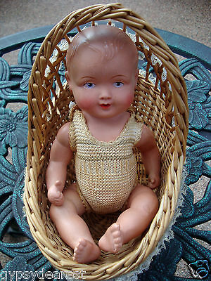 1920's Schoberl & Becker Celluloid JOINTED DOLL STAMPED 24 1/2 MERMAID W/ BASKET