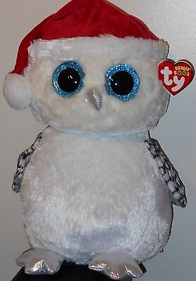 "Ty 17"" LARGE / JUMBO Beanie Boos ~ TINSEL the Owl ~ Claires Exclusive ~ 2016 NEW"