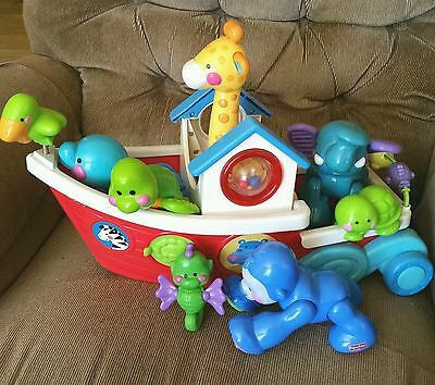 Fisher-Price Amazing Animals Roll Along Ark Giraffe Elephant Ape Turtle Seahorse