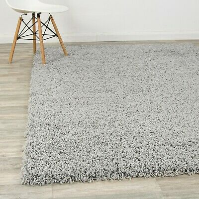 Silver Shaggy Large Carpet Soft Modern 5cm Thick Contemporary Area Rug Fluffy