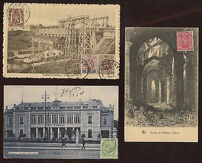 3 Postcards~Belgium TCV Stamp on Front~Houdeng,Orval Abbey,Verviers~1910s-1920s