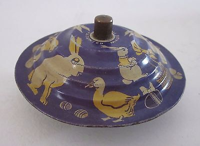 Vintage Tin Litho Easter Toy Spinner Bell Top? Bunnies Chicks Ducks
