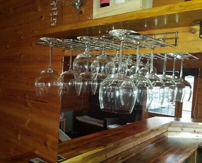 Stainless Steel Wine Glass Hanging Rack Holder  Fix Shelf Hanger Bar