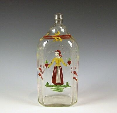 Antique Stiegel type Blown Glass Hand Enamel Bottle Flask Pewter Cap Attic Mint