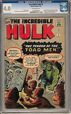 Incredible Hulk #2 CGC 4.0 (OW) 1st Appearance of the Green Hulk