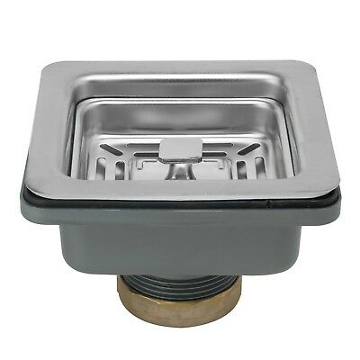 """3.5"""" Square Multi-Function Stainless Steel Kitchen Sink Drain with Strainer"""