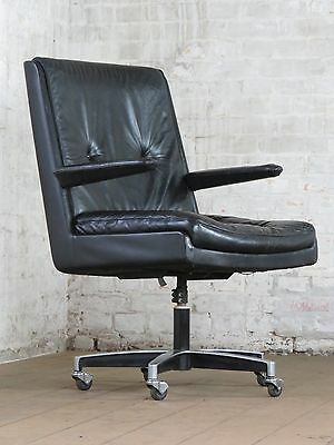 70er b rostuhl drehstuhl vintage armlehner office chair leder schreibtisch stuhl eur 135 00. Black Bedroom Furniture Sets. Home Design Ideas