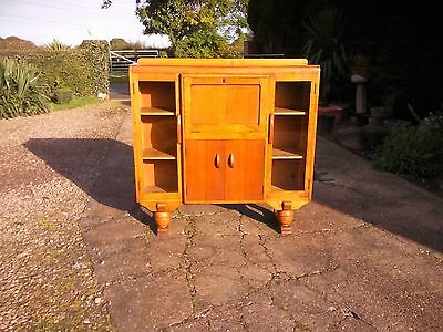 Bookcase:Lovely quality made c1940's light oak side x side bureau bookcase
